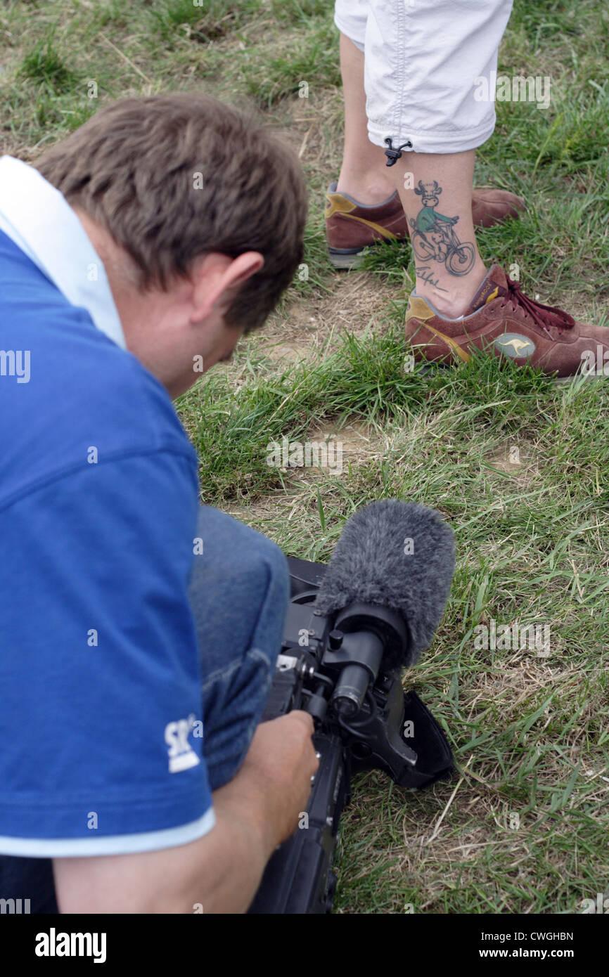 Deutschland Tour 2006 Kameramann Filmt Einen Zaun Tattoo Partitur