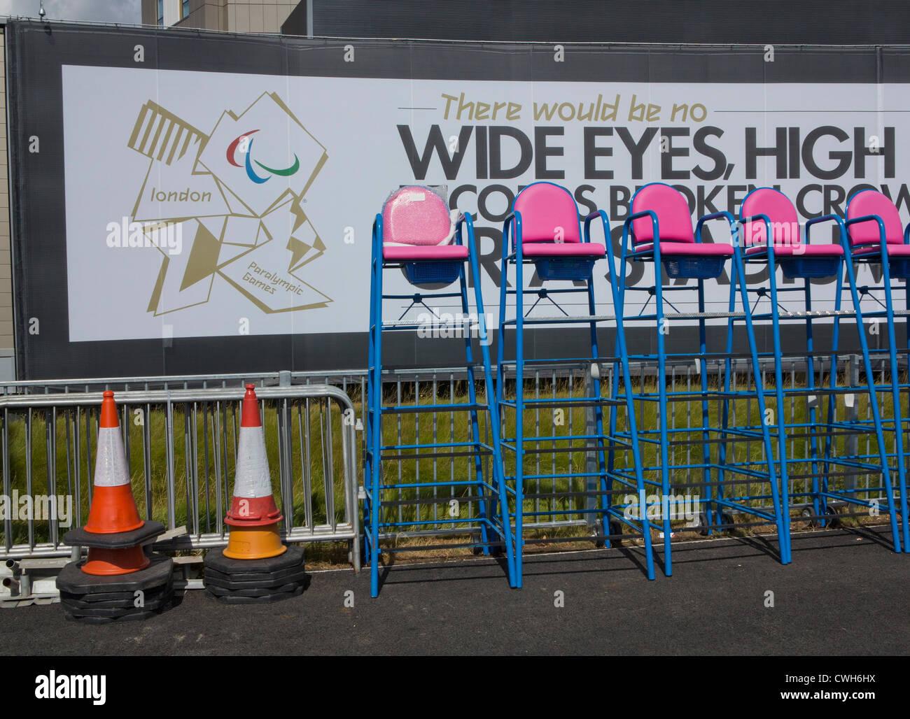 Zugängliche Einträge für die Paralympischen Spiele 2012 in London und Umgebung Stockfoto