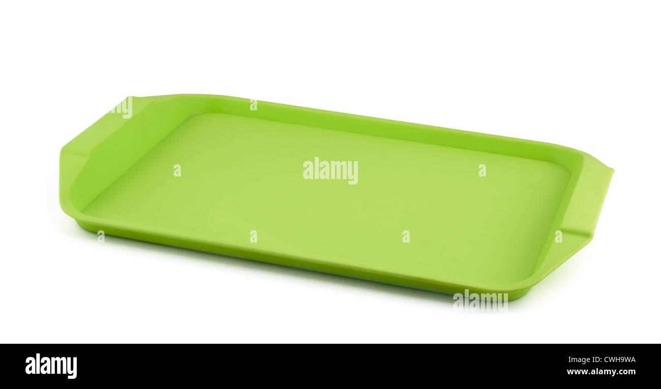 Leere grüne Kunststoff-Tablett isoliert auf weiss Stockbild
