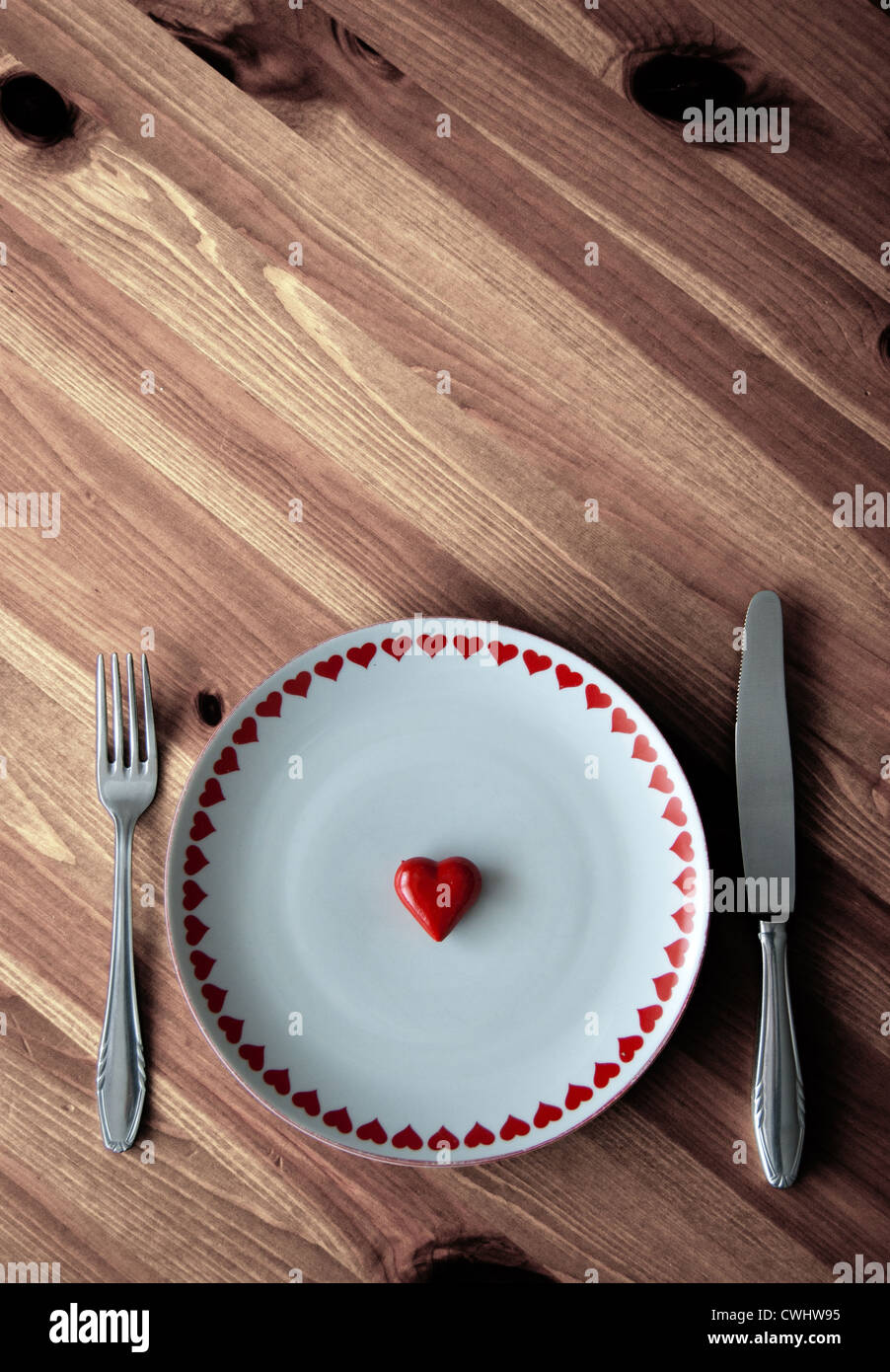 Herz, hungrig, Gedeck Stockfoto