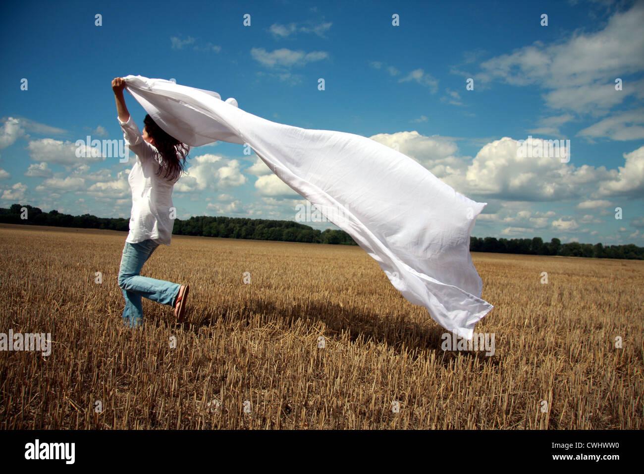 Frau, Freiheit, Unabhängigkeit, Überschwang Stockbild