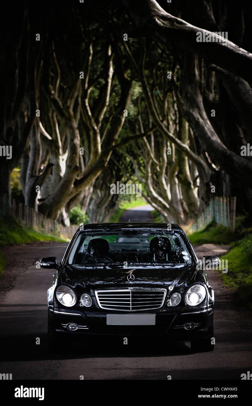 Mercedes E-Klasse Auto an den dunklen Hecken, Armoy, County Antrim, Nordirland (Nummernschild hat ausgeblendet wurde) Stockbild
