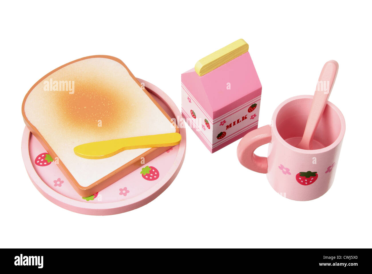 Holzspielzeug-Frühstücks-Set Stockbild