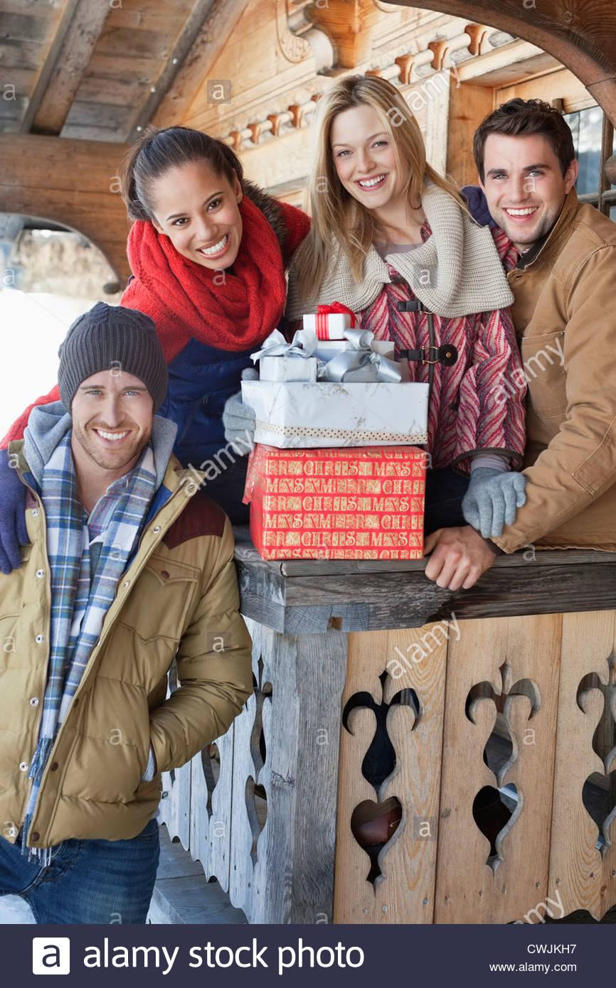 Snow Woman Christmas Gifts Outdoors Stockfotos & Snow Woman ...