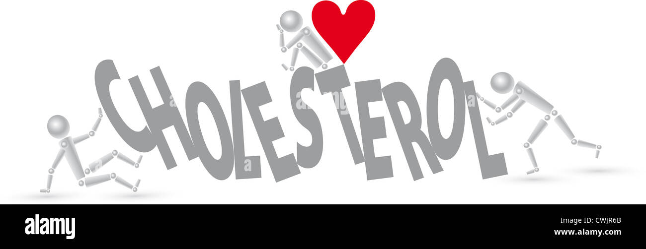 Tschechische Gesundheitssystem - Text Cholesterin mit roten Herzen Stockbild