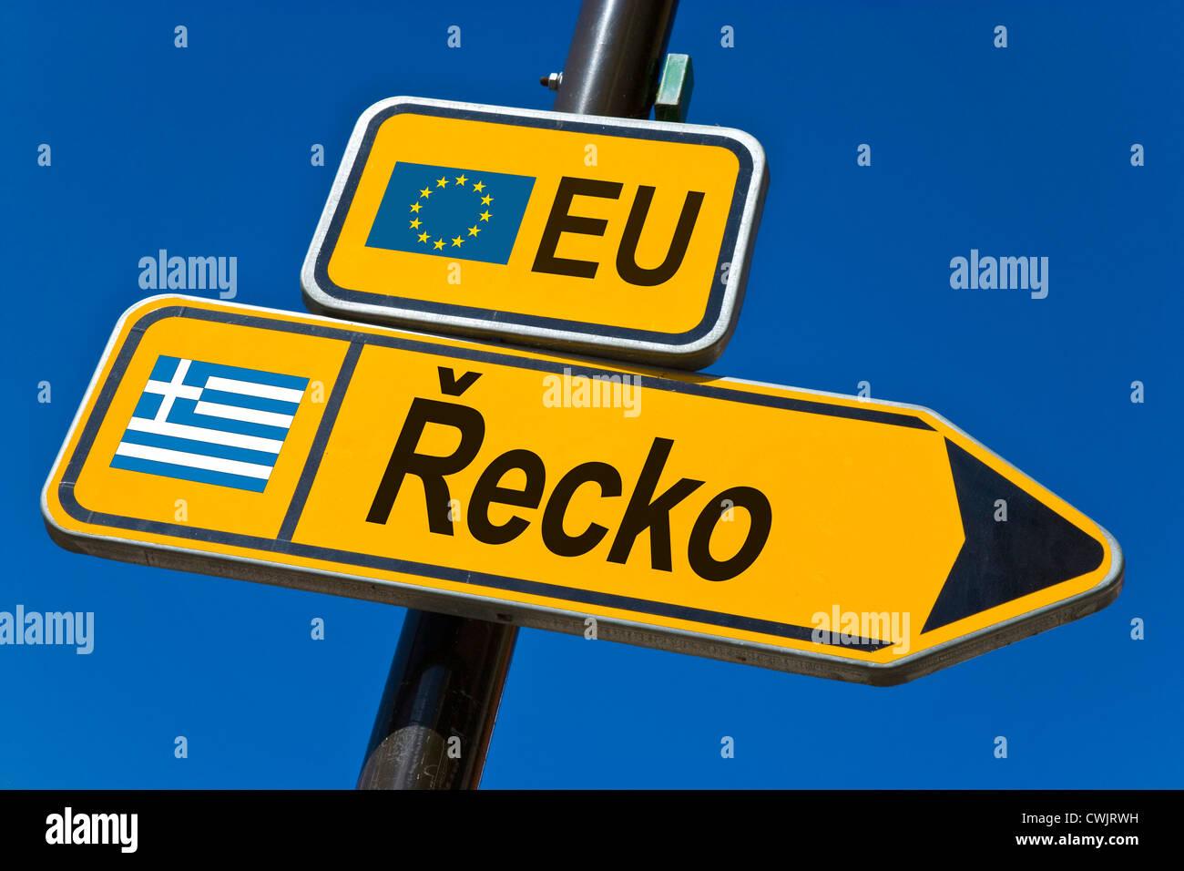 Europäischen Union und Flagge von Griechenland Stockbild