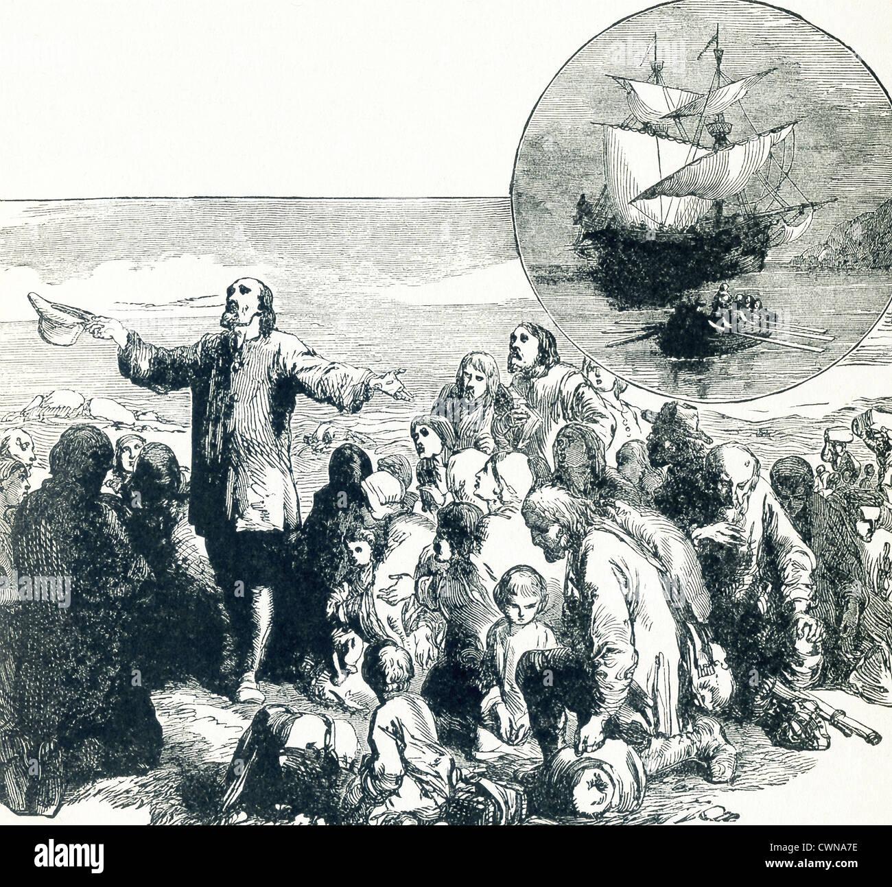 Die Pilgerväter landen in Plymouth und danken. In den Einschub-Kreis ist das Schiff, auf dem sie segelten ? Stockbild