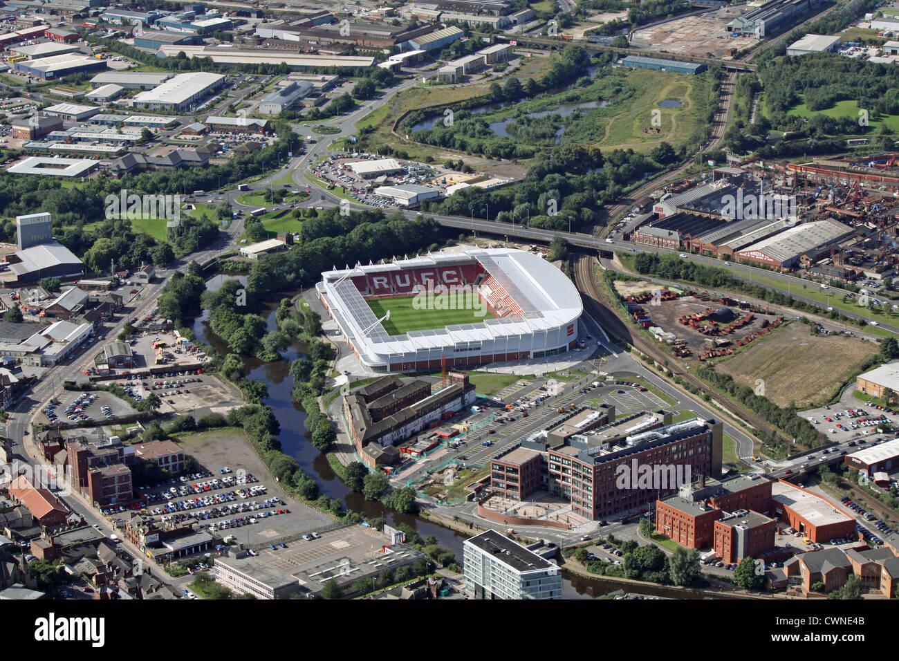 Luftaufnahme von Rotherham United Fußballplatz, South Yorkshire Stockbild