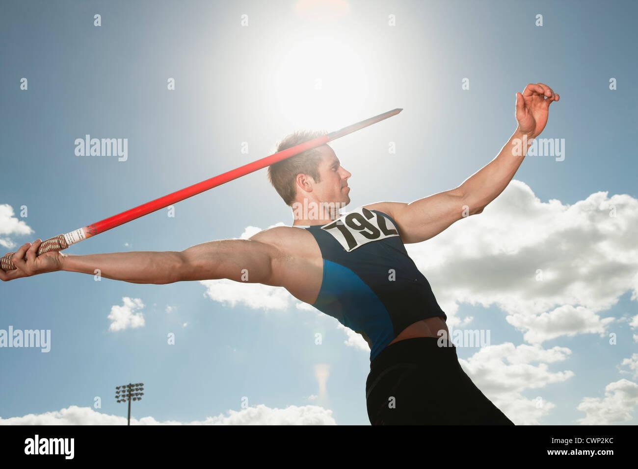 Speer mit dem Ziel, Werfer Stockbild
