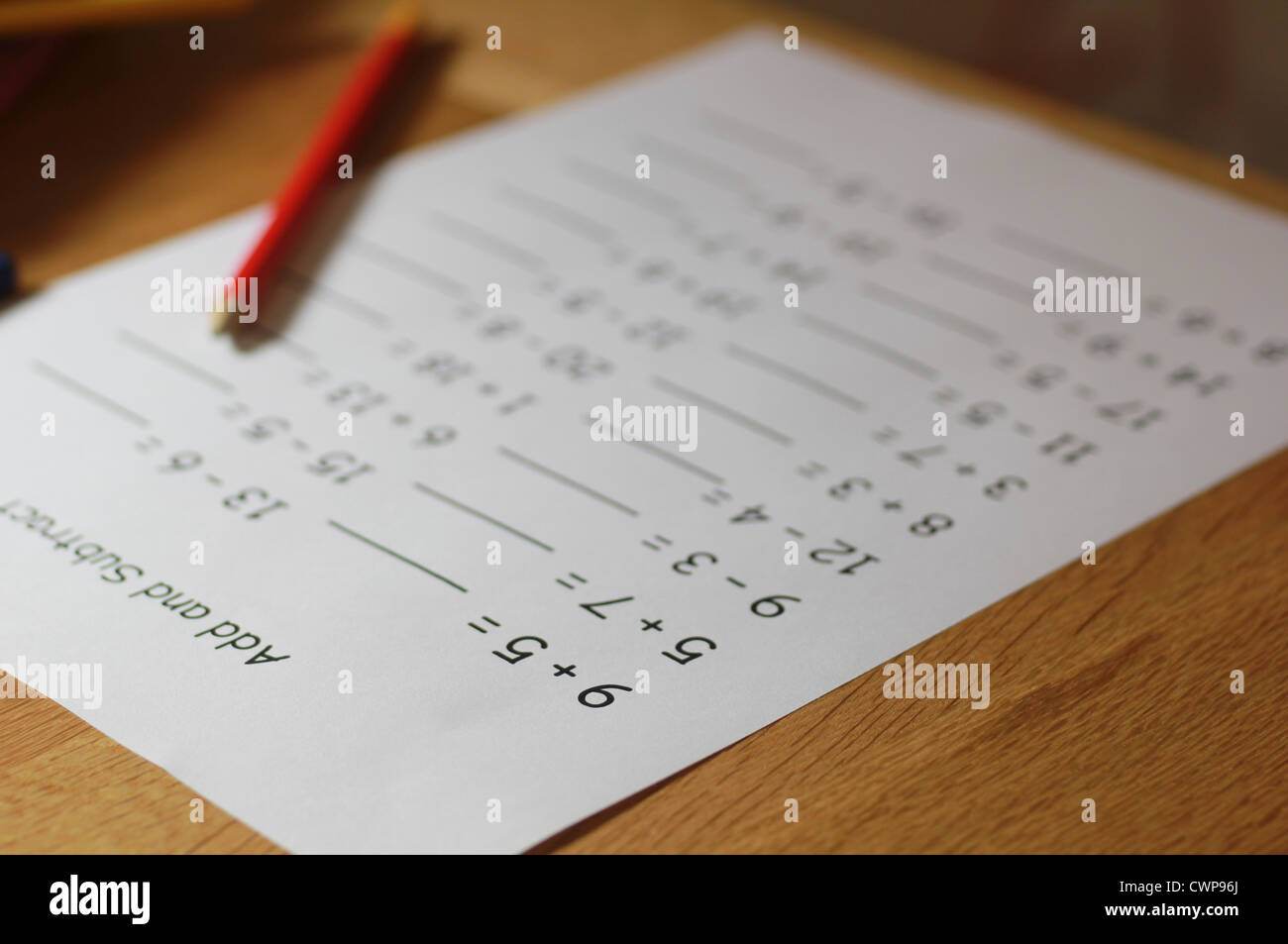 Mathe-Hausaufgaben Stockfoto, Bild: 50277322 - Alamy