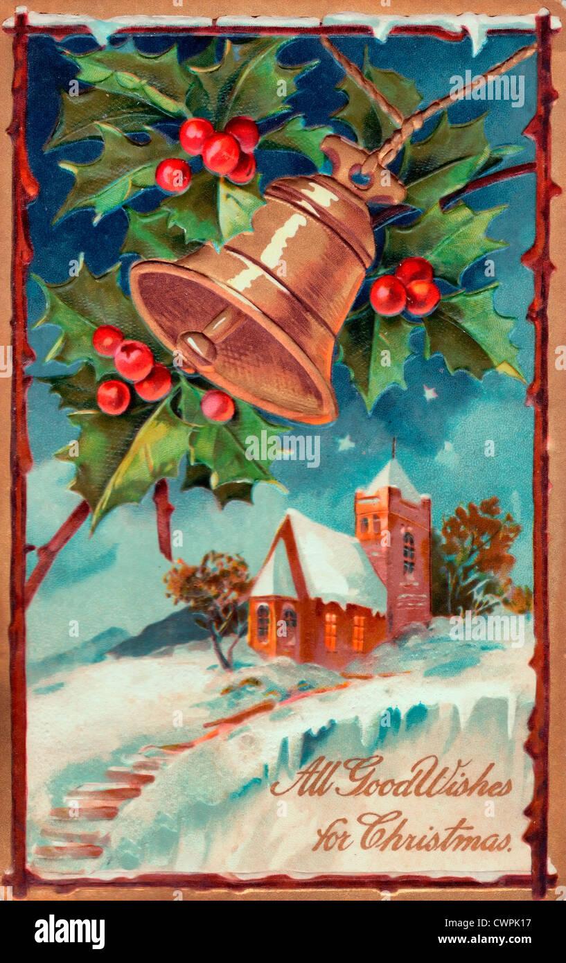 Alle guten Wünsche zu Weihnachten - Vintage-Karte Stockbild
