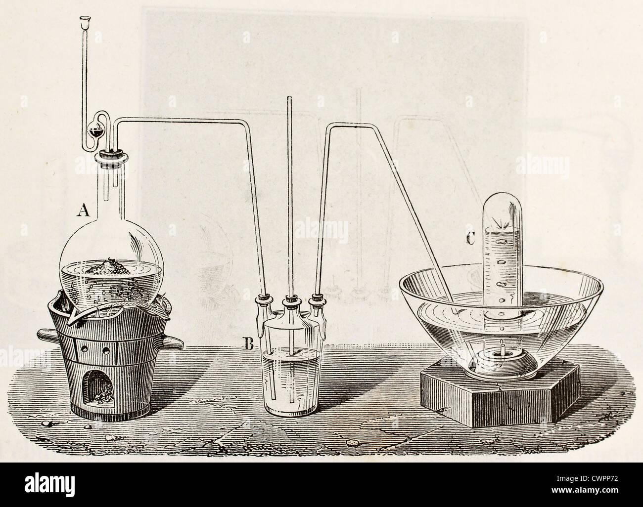 Laborgeräte für die Sauerstoffproduktion Stockbild