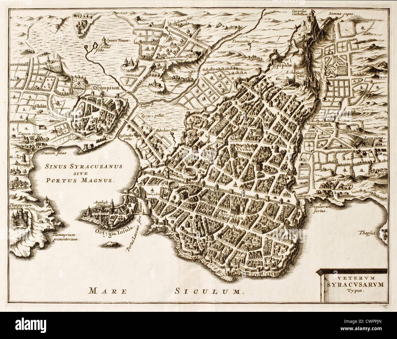 Syracuse Italy, Map Stockfotos und -bilder Kaufen - Alamy