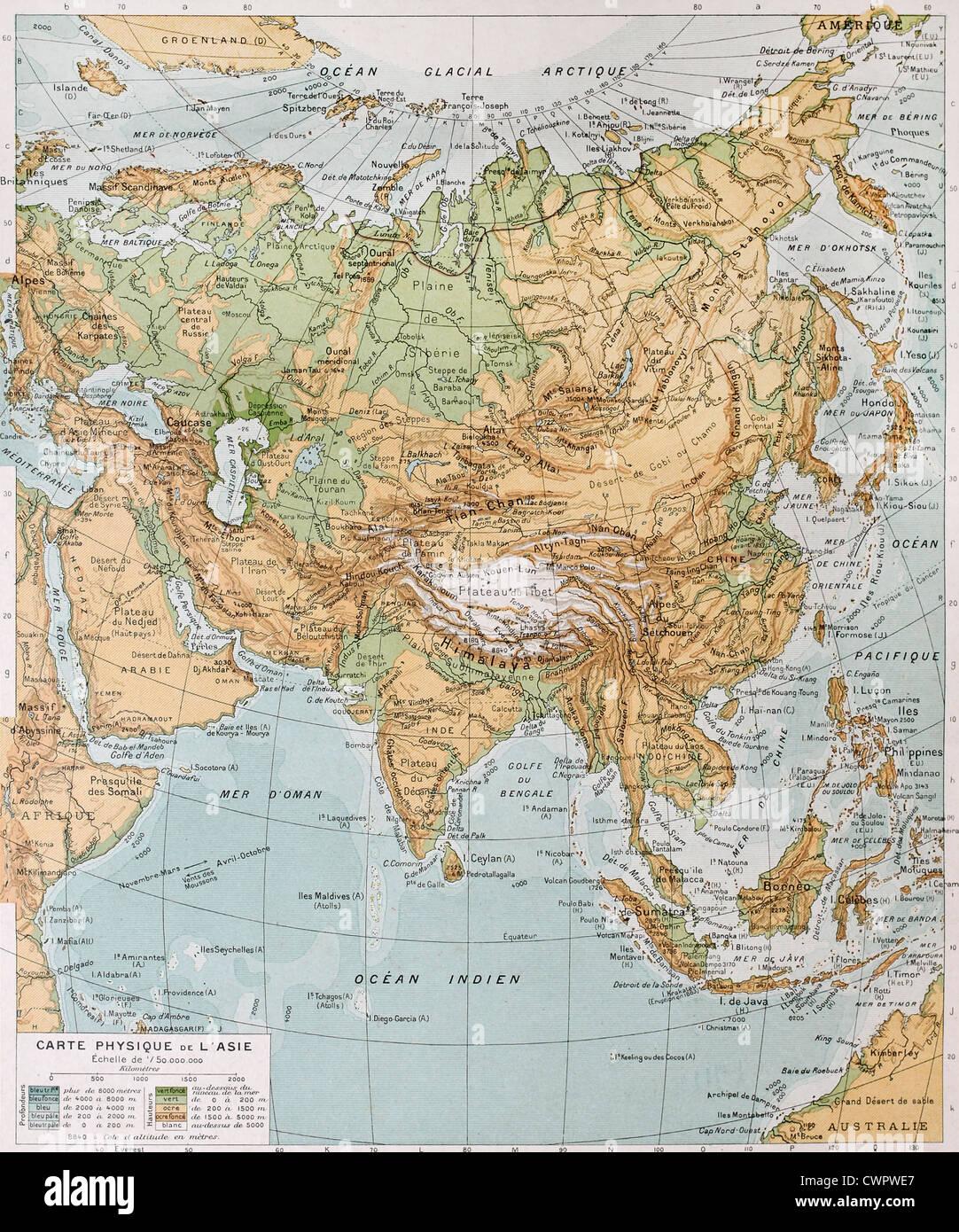Karte Asien.Physische Karte Von Asien Stockfoto Bild 50290079 Alamy