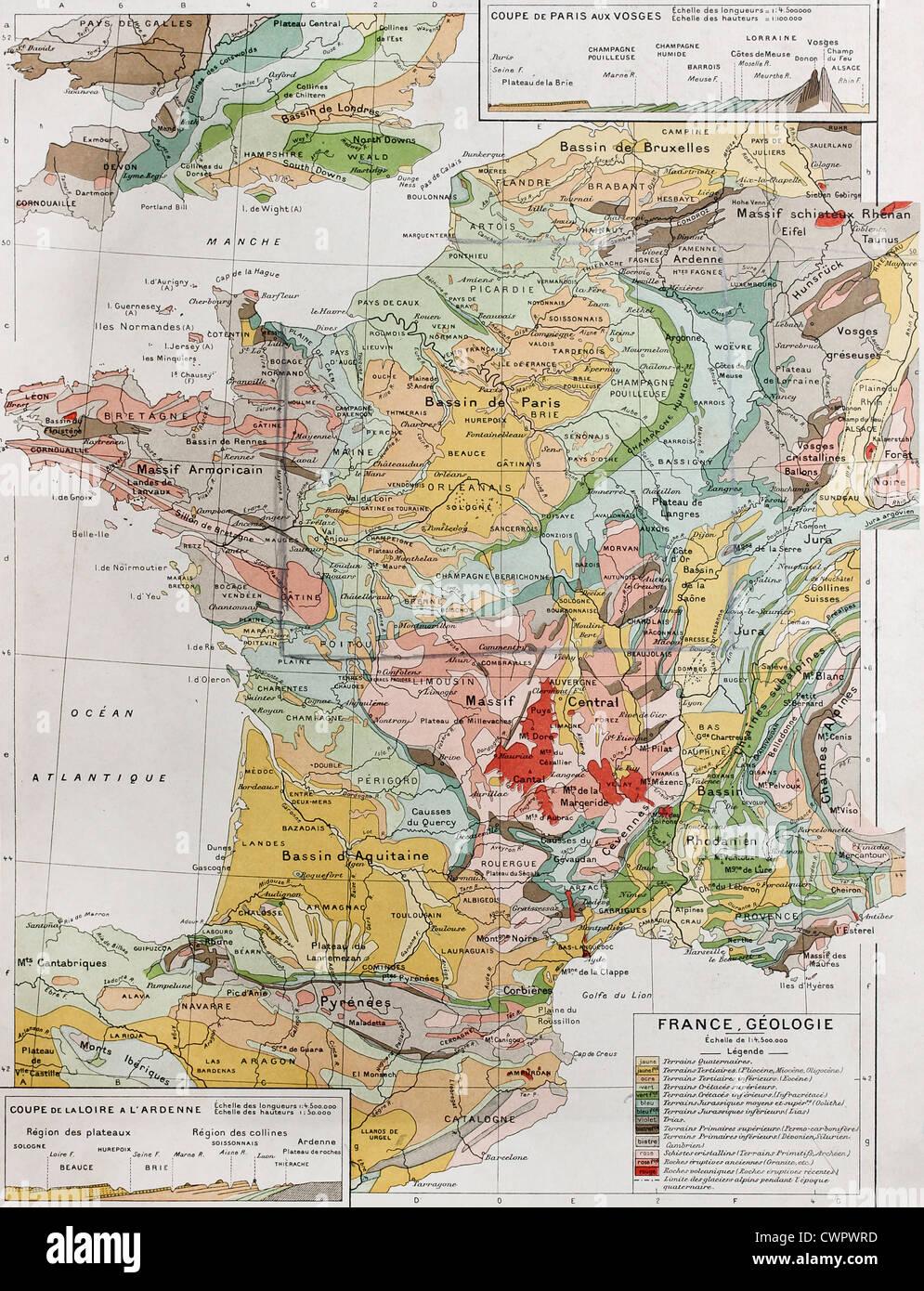 Geologische Karte von Frankreich Stockbild