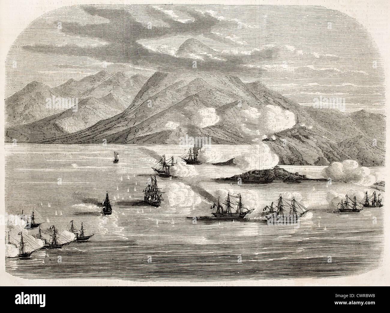 Tourane Bay (heute Da Nang) Bombardierung durch französische Flotte Stockbild