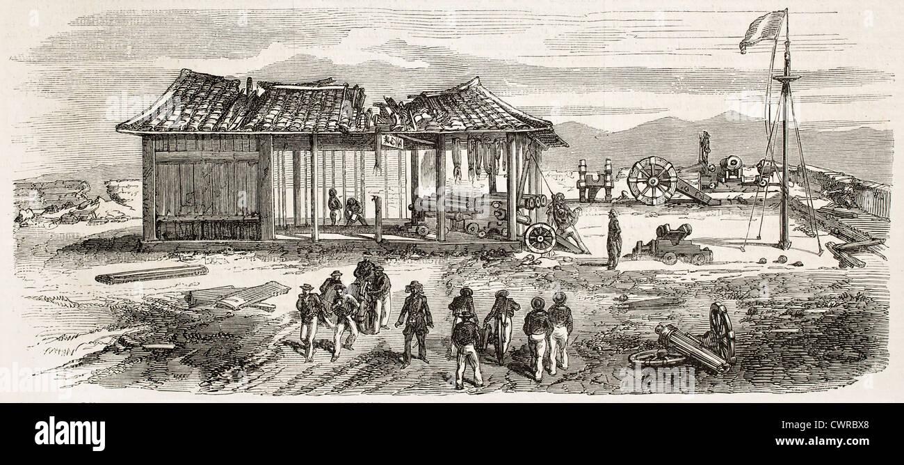 Tourane Bucht Bombardierung durch französische Flotte Stockbild