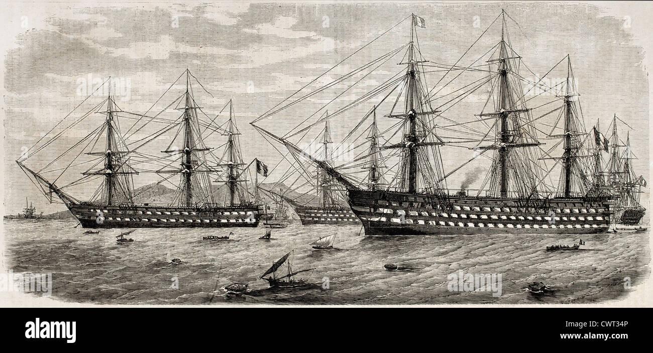 Französische Flotte vor Neapel, Italien Stockbild
