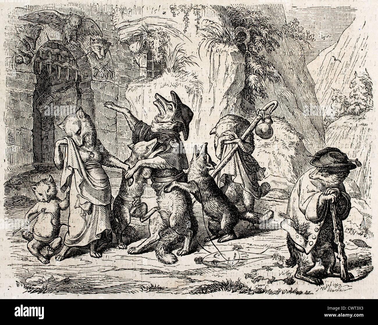 Alte Abbildung Reynecke Fuchs, Goethe Gedicht entnommen Stockbild
