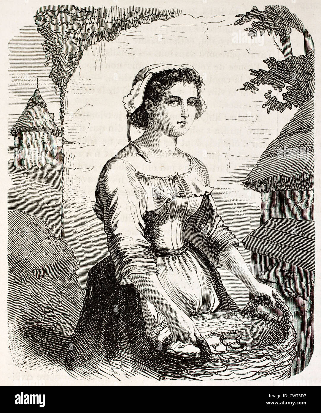 Junge Frau Porträt mit dem Titel Paquerette Stockbild