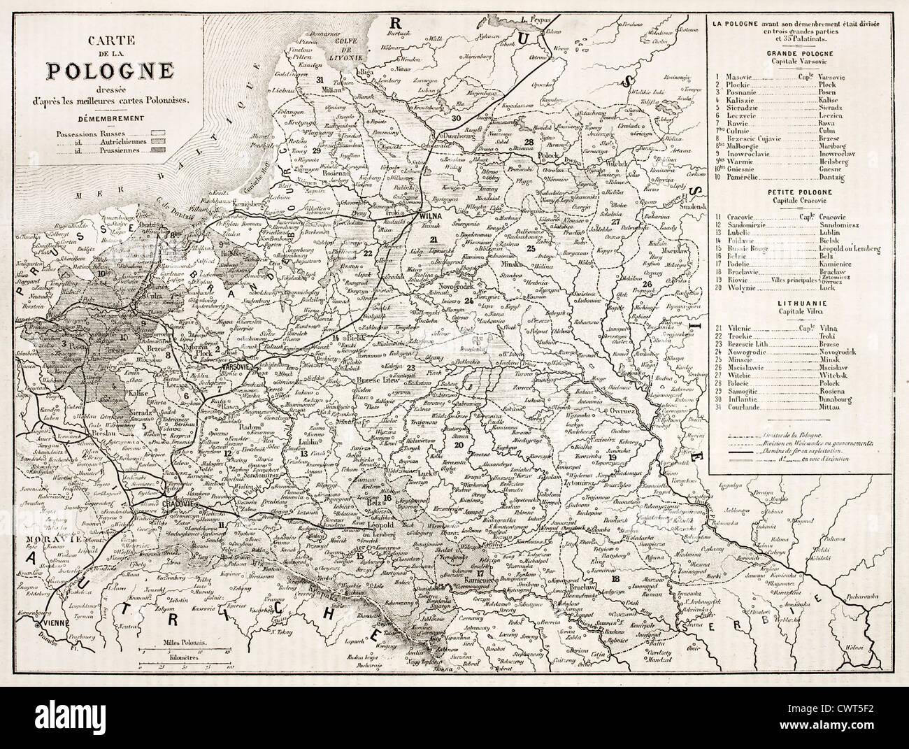 Polen Karte.Alte Karte Von Polen Stockfoto Bild 50318326 Alamy