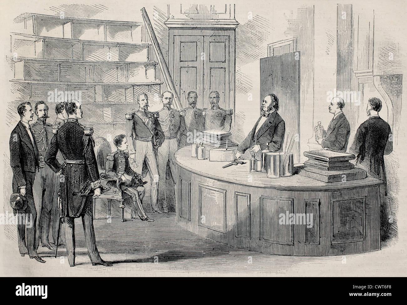 Prince Imperial besuchen Chemie-Labor Stockbild