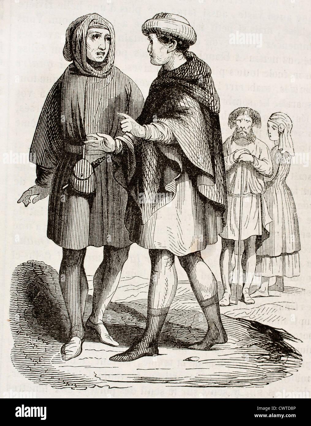 Mittelalterliche Bourgeois und Handwerker Stockbild