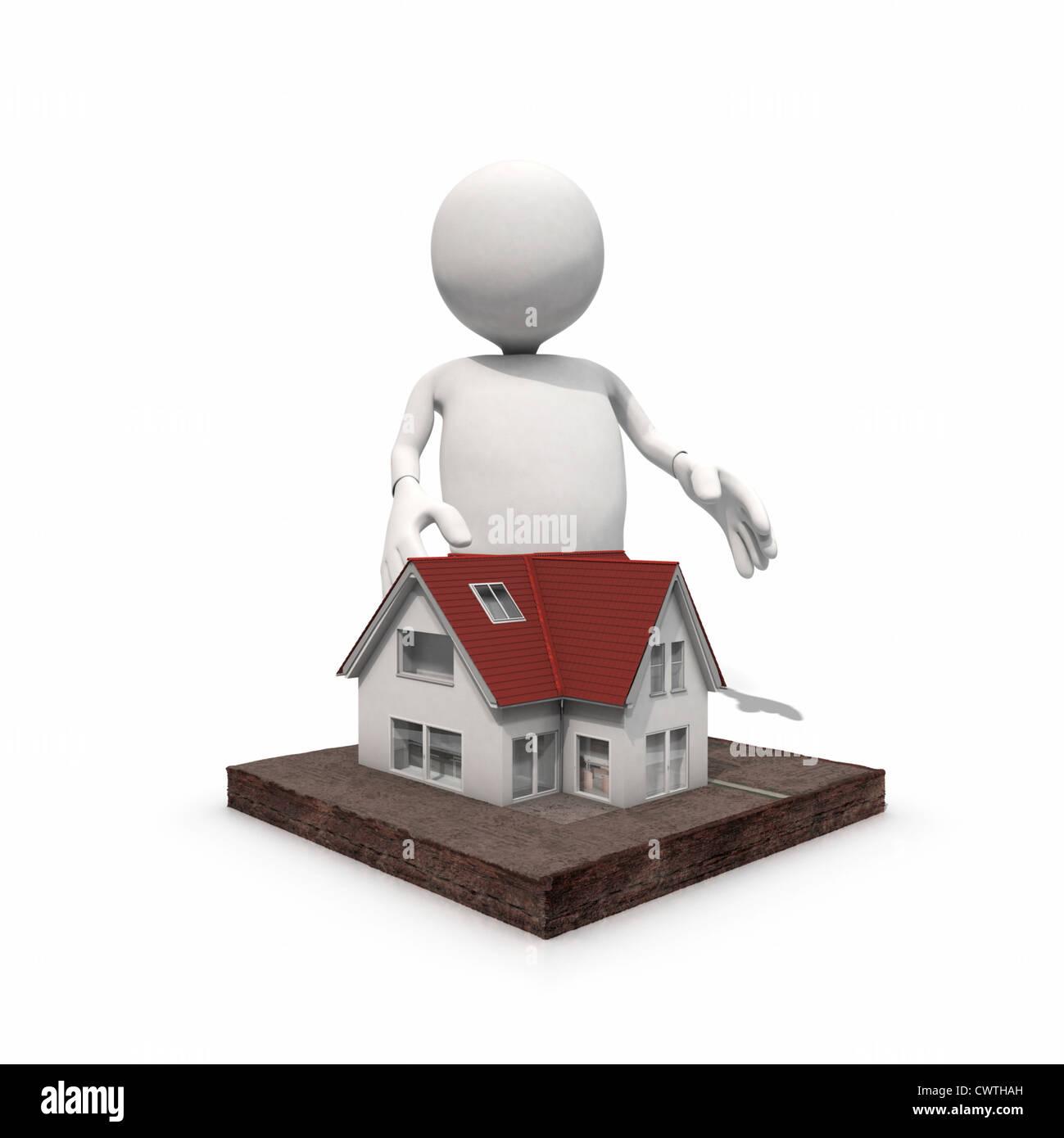 Anthropomorphe Figur stehend zu Hause, CGI Stockbild