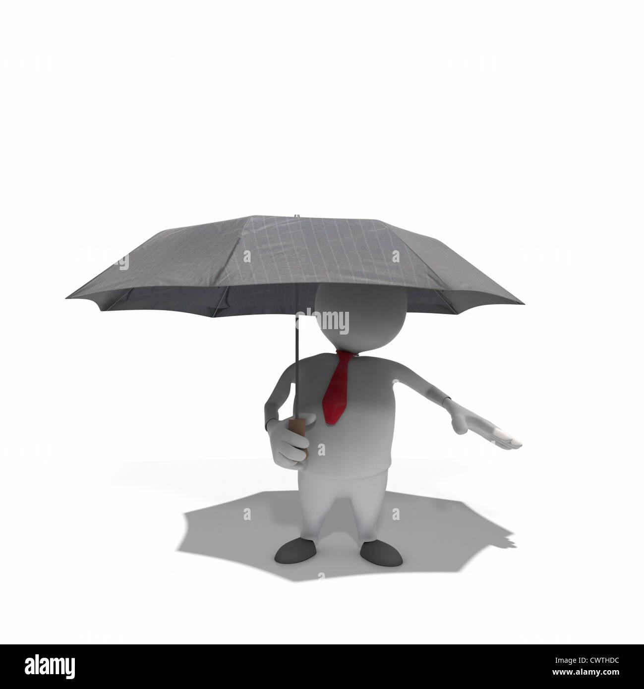 Anthropomorphe Geschäftsmann hält Regenschirm, CGI Stockbild