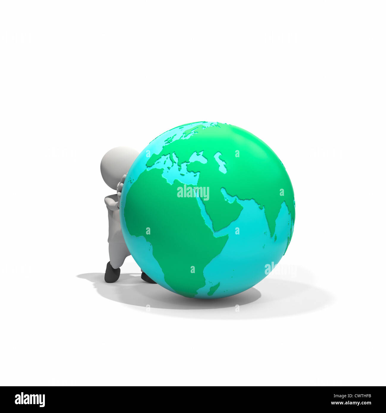 Anthropomorphe Figur schieben Globus, CGI Stockbild