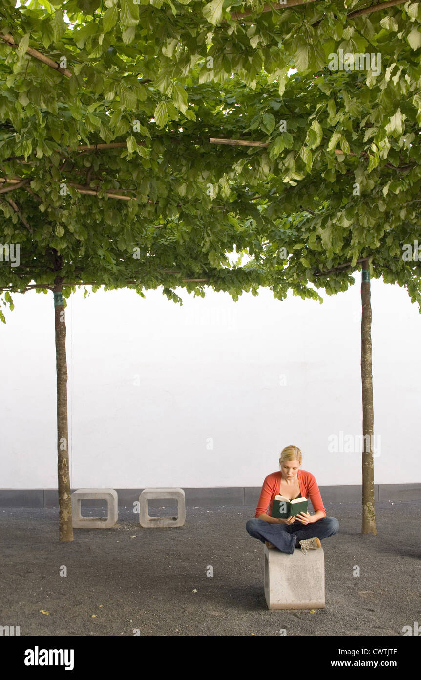 Junge Frau Buch unter Bäumen Stockbild