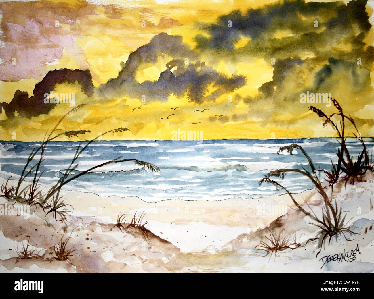 Strand Aquarell Moderne Kunst Malerei Gelb Gem 228 Lde