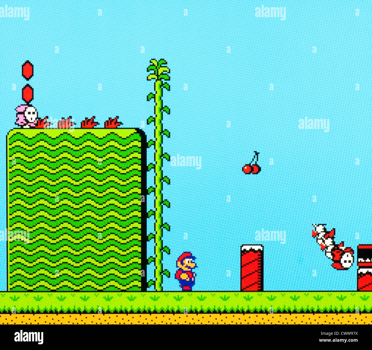 Super Mario Videospiel - töten Bösen Welt 1 Stockbild