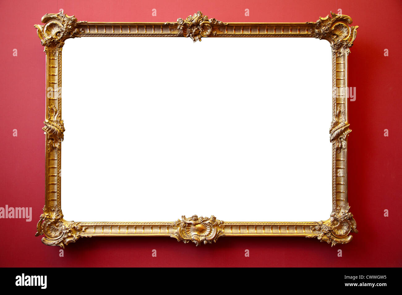 Gold von Bilderrahmen auf rot gestrichenen Wand Stockfoto, Bild ...