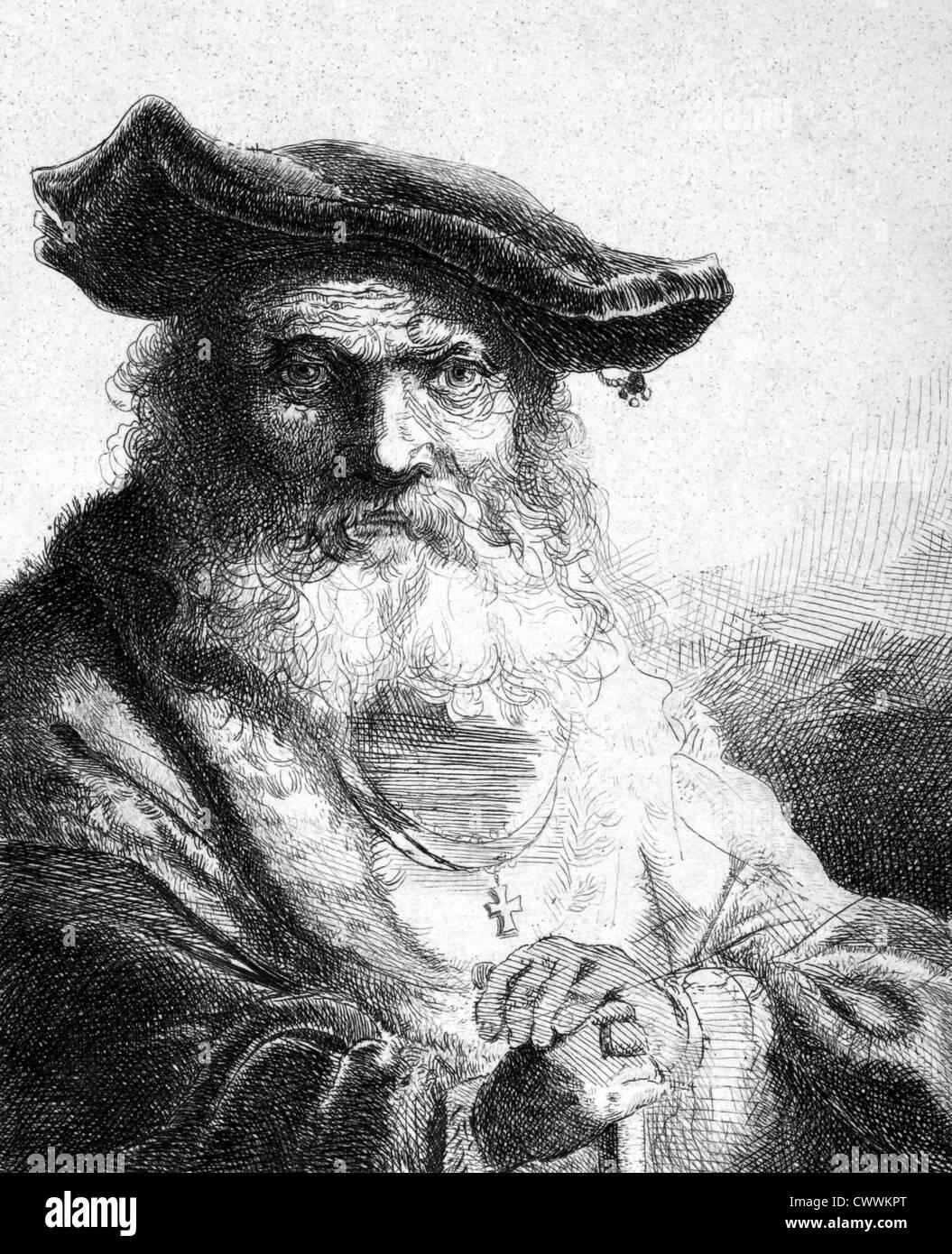 Ferdinand Bol (1616-1680) auf Kupferstich aus dem Jahr 1859. Niederländische Maler, Radierer und Zeichner. Stockbild