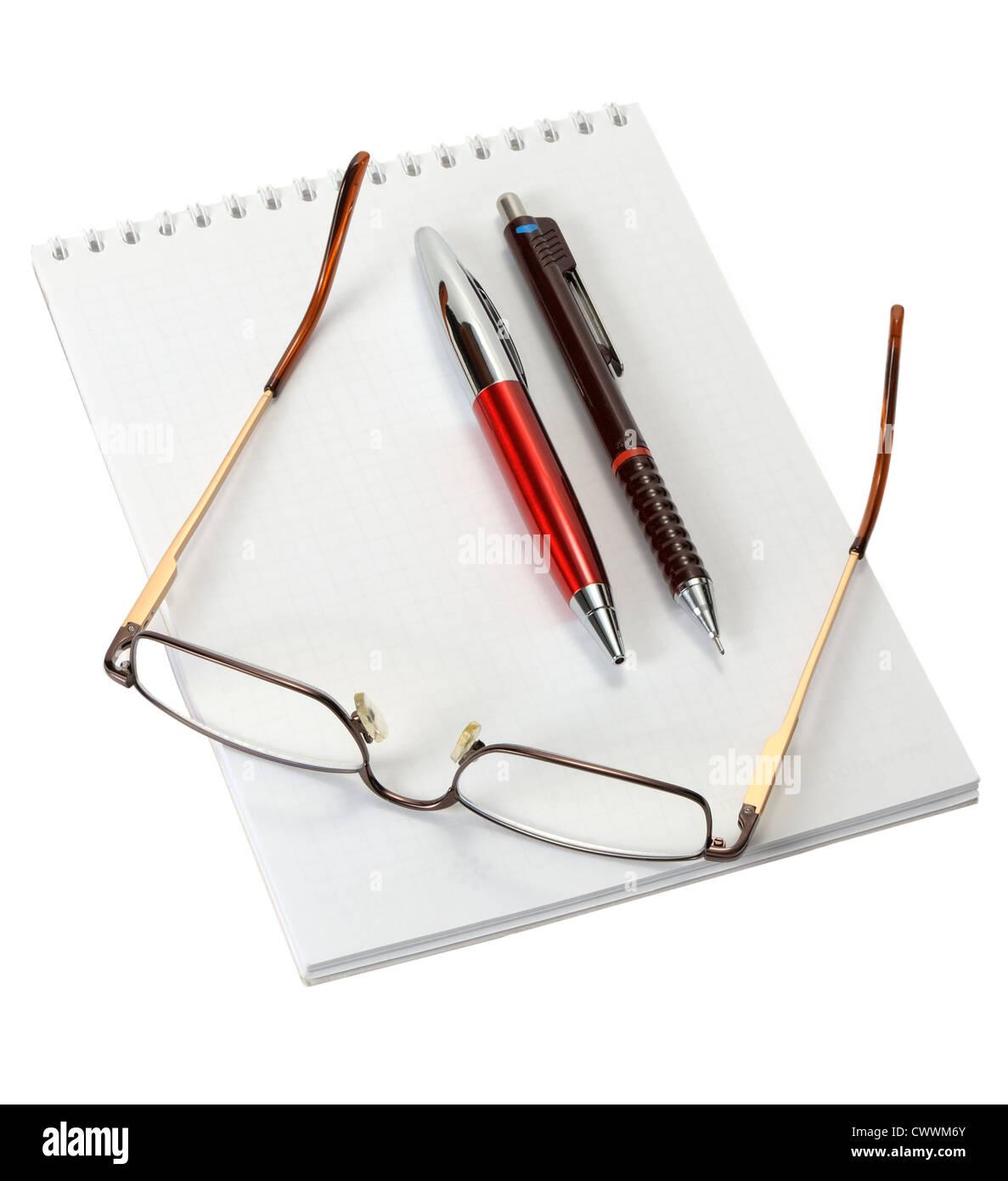 Öffnen Sie ein leeres Arbeitsblatt Notizbuch, Kugelschreiber ...