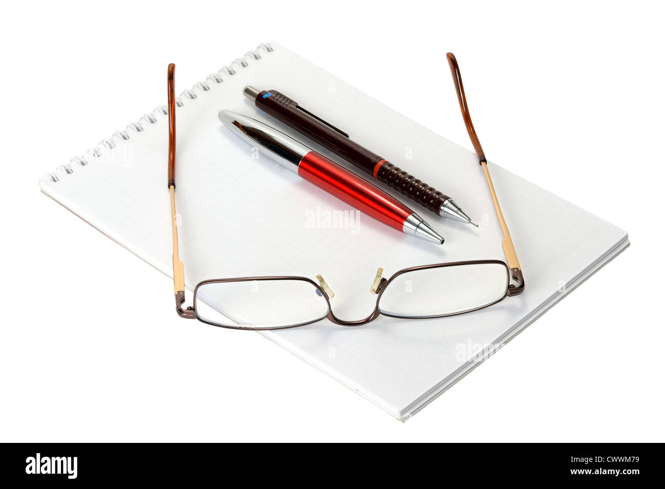 Close Up Eyeglasses On Spiral Notebook Stockfotos & Close Up ...