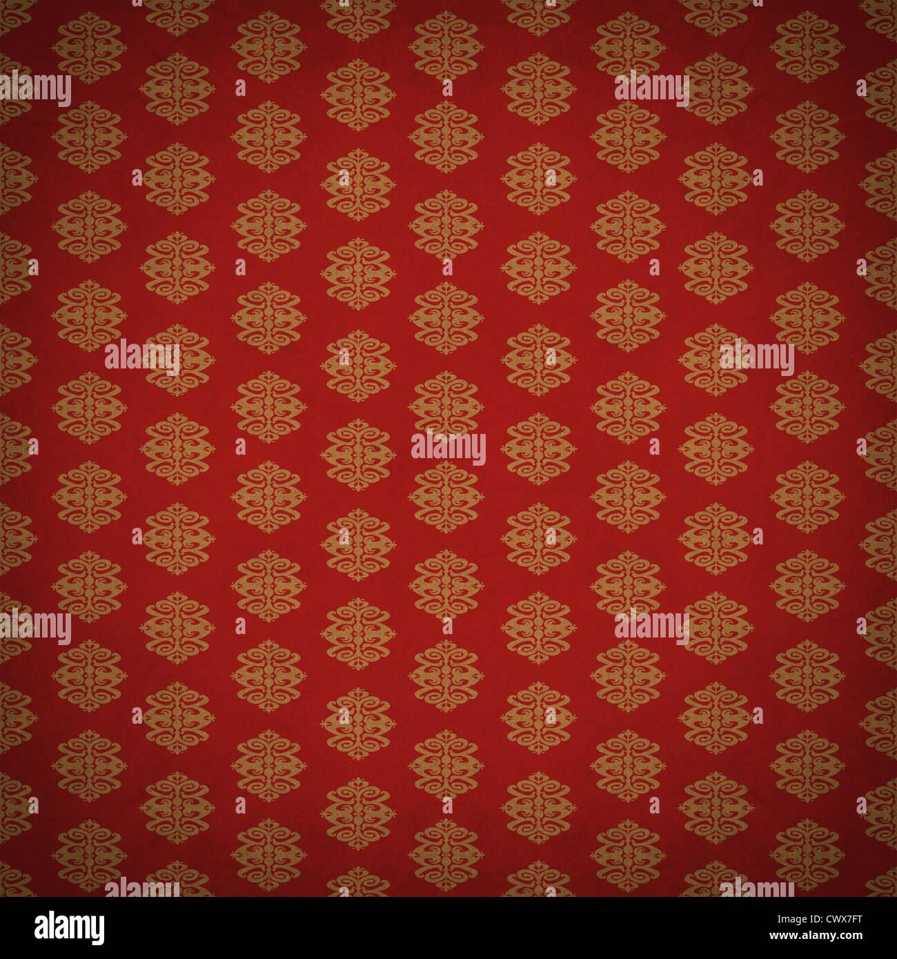rot und gold-blatt antike alte tapete mit einem alten retro-stil