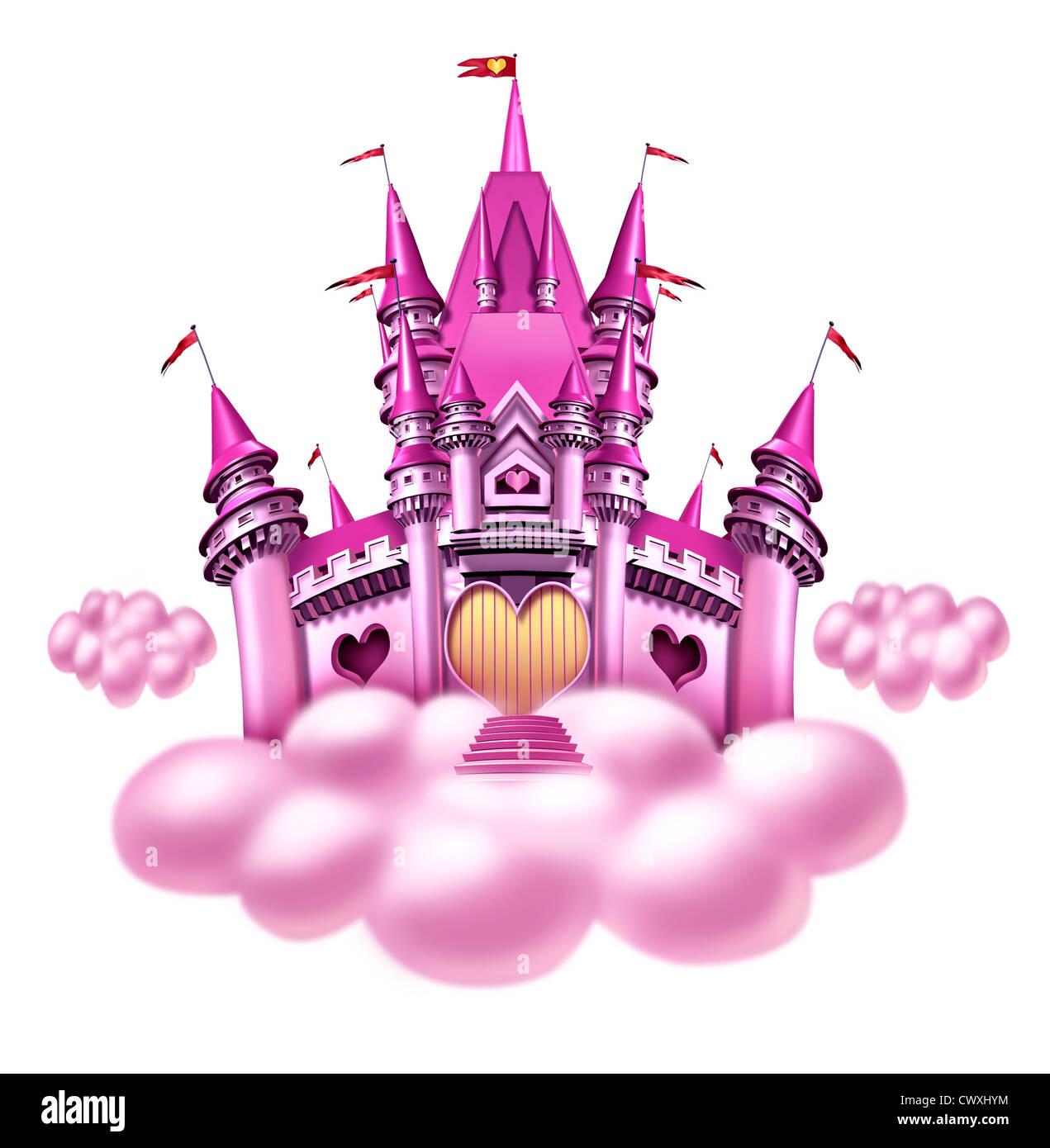Fantasie Prinzessin Wolke Schloss mit einem Spaß rosa magischen Königreich auf eine flauschige Wolke als Stockbild