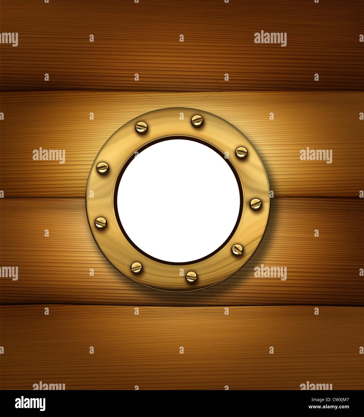 Bullauge oder Schiff-Fenster auf einem alten Holzrahmen Wand als ...