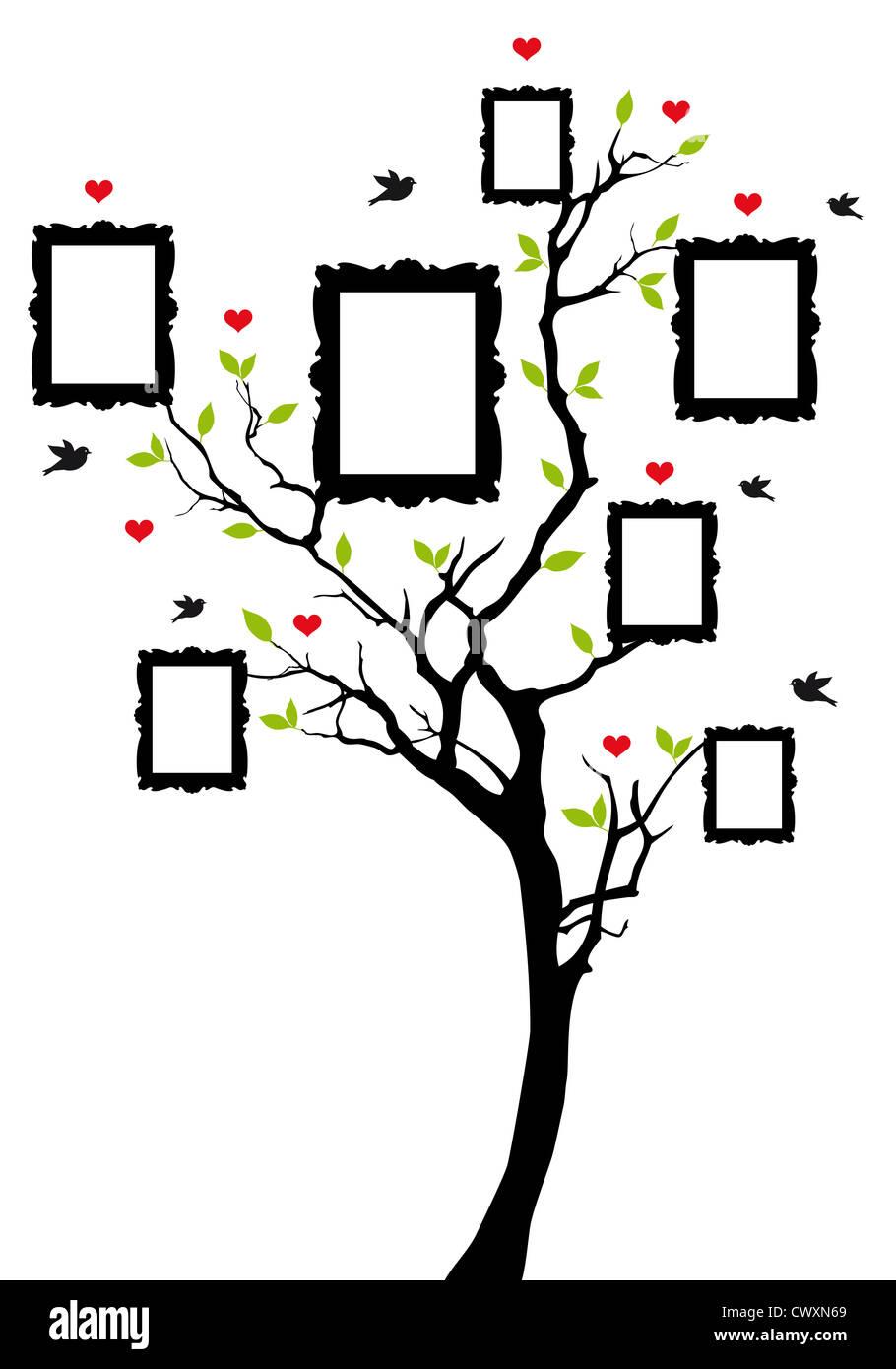 Stammbaum mit Bilderrahmen, Hintergrund illustration Stockfoto, Bild ...