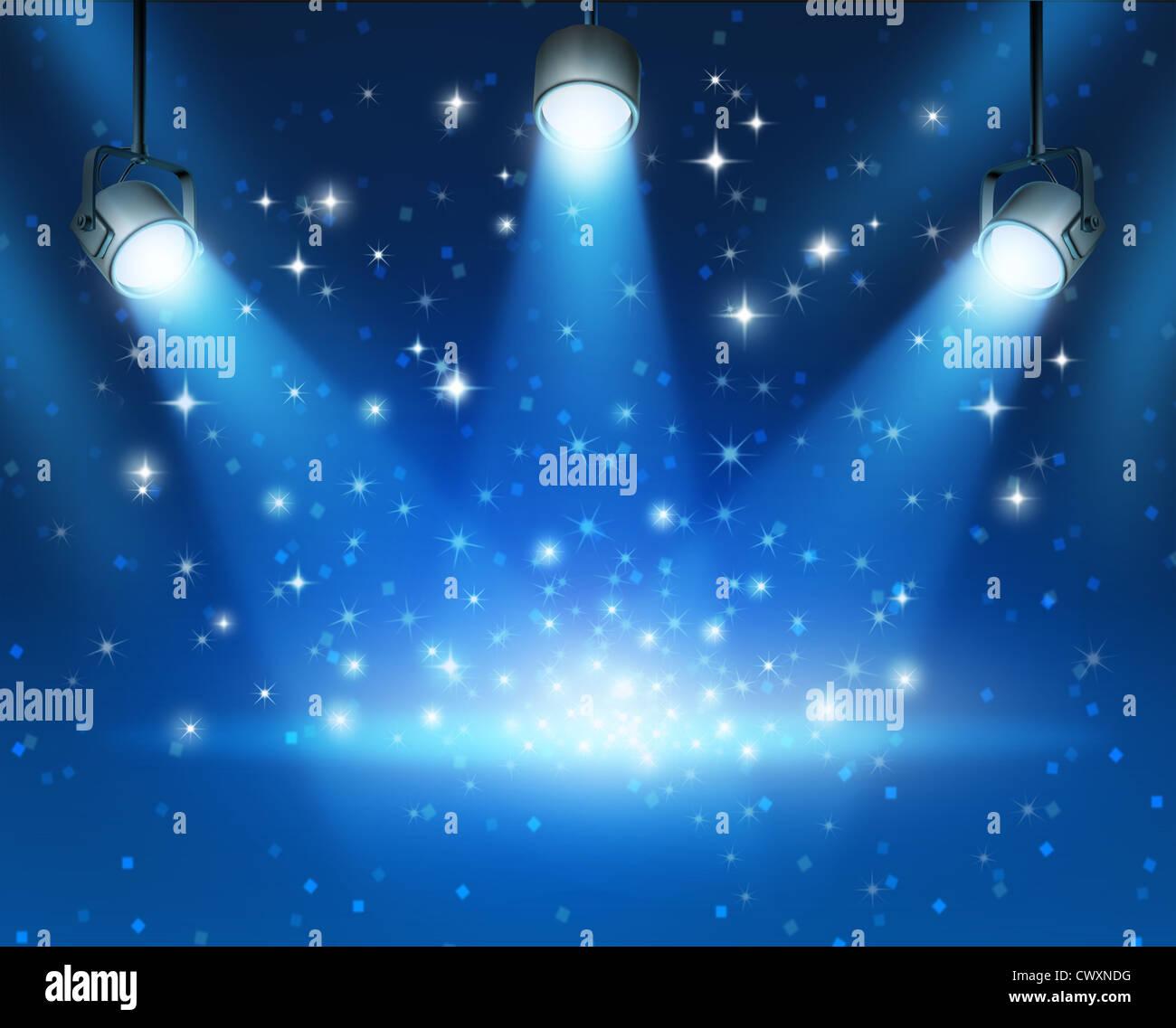 Magische blaue abstrakte Bild Konzert Beleuchtung vor einem dunklen leuchtenden Hintergrund Illustration mit glänzenden Stockbild