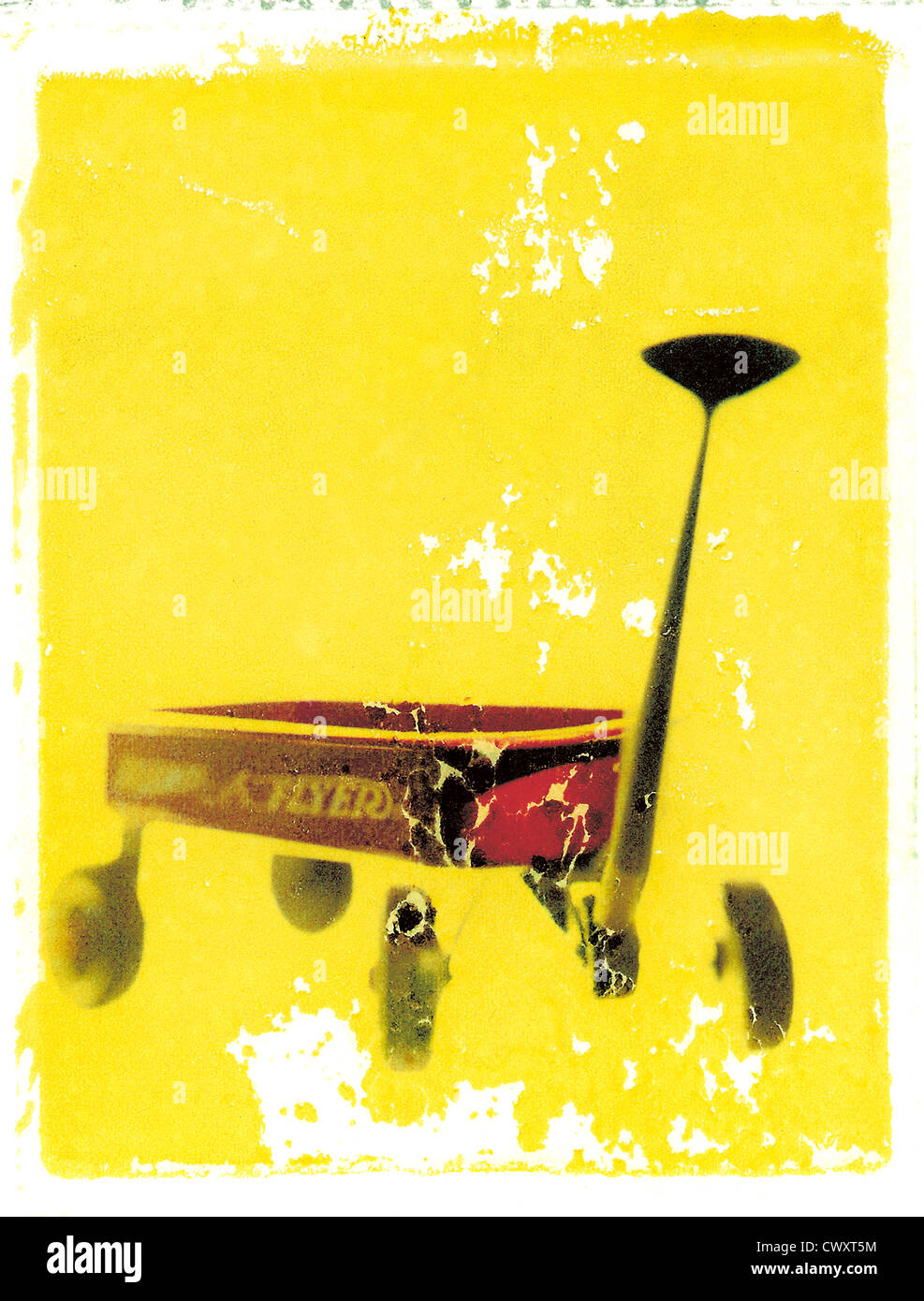 Radio Flyer roten Wagen. Foto-Illustration von Polaroid Transfer. © Mak Stockbild