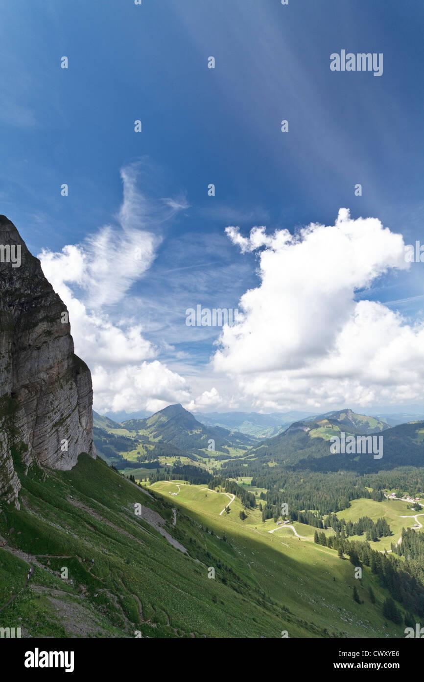 Erschossen Sie, während aufsteigende Säntis in den Schweizer Alpen. Stockbild