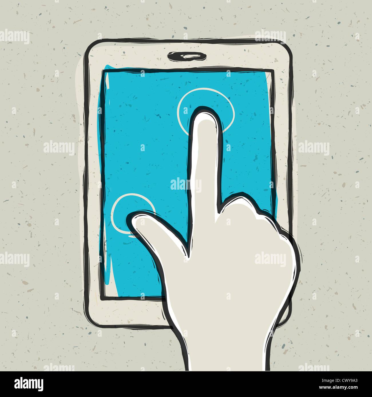 Abstrakte Hand berühren digital-Tablette Stockbild