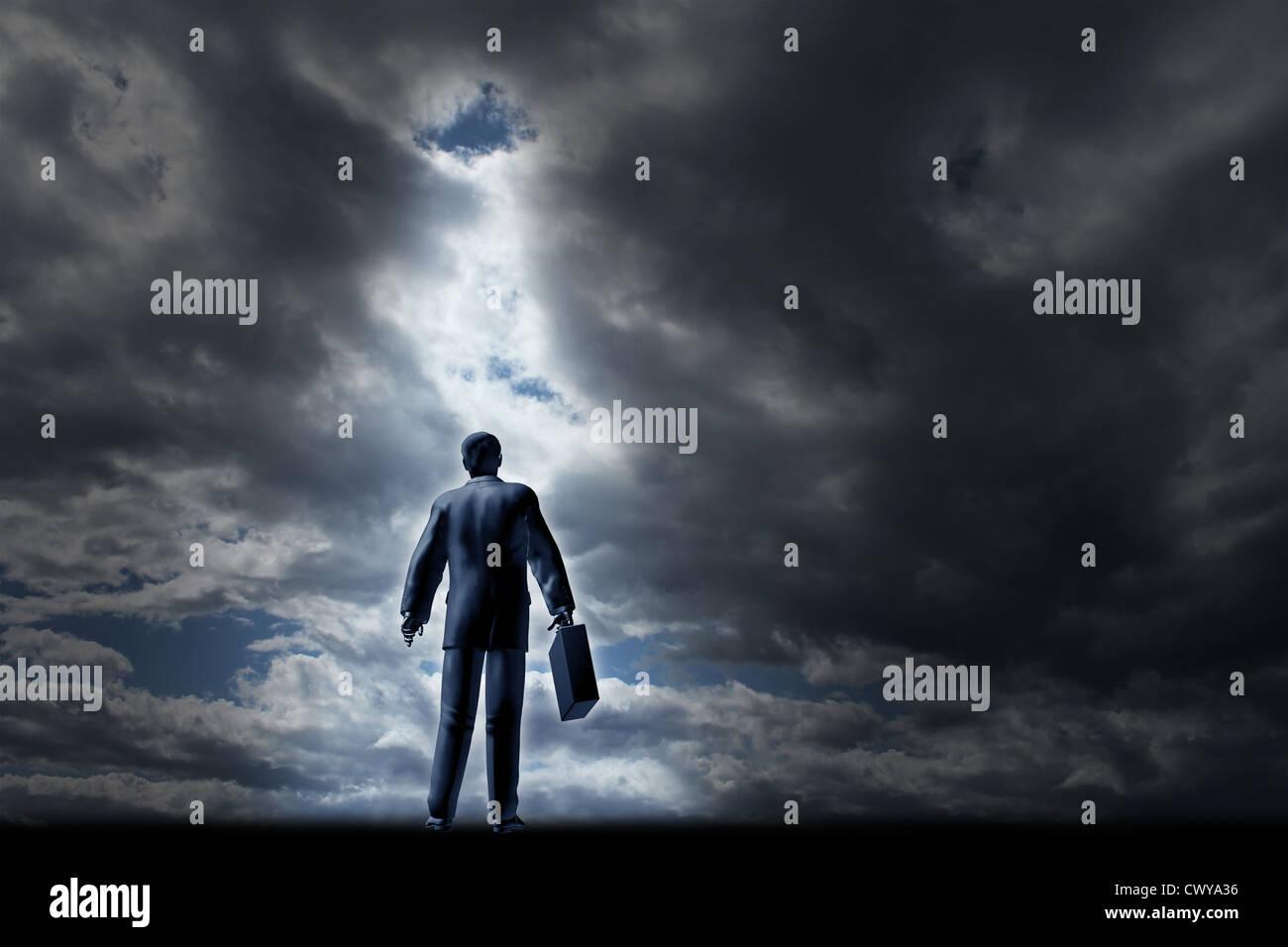 Business Management Finanzkonzept mit einem Mann in einem Anzug und Aktenkoffer zu Beginn einer langen Reise durch Stockbild