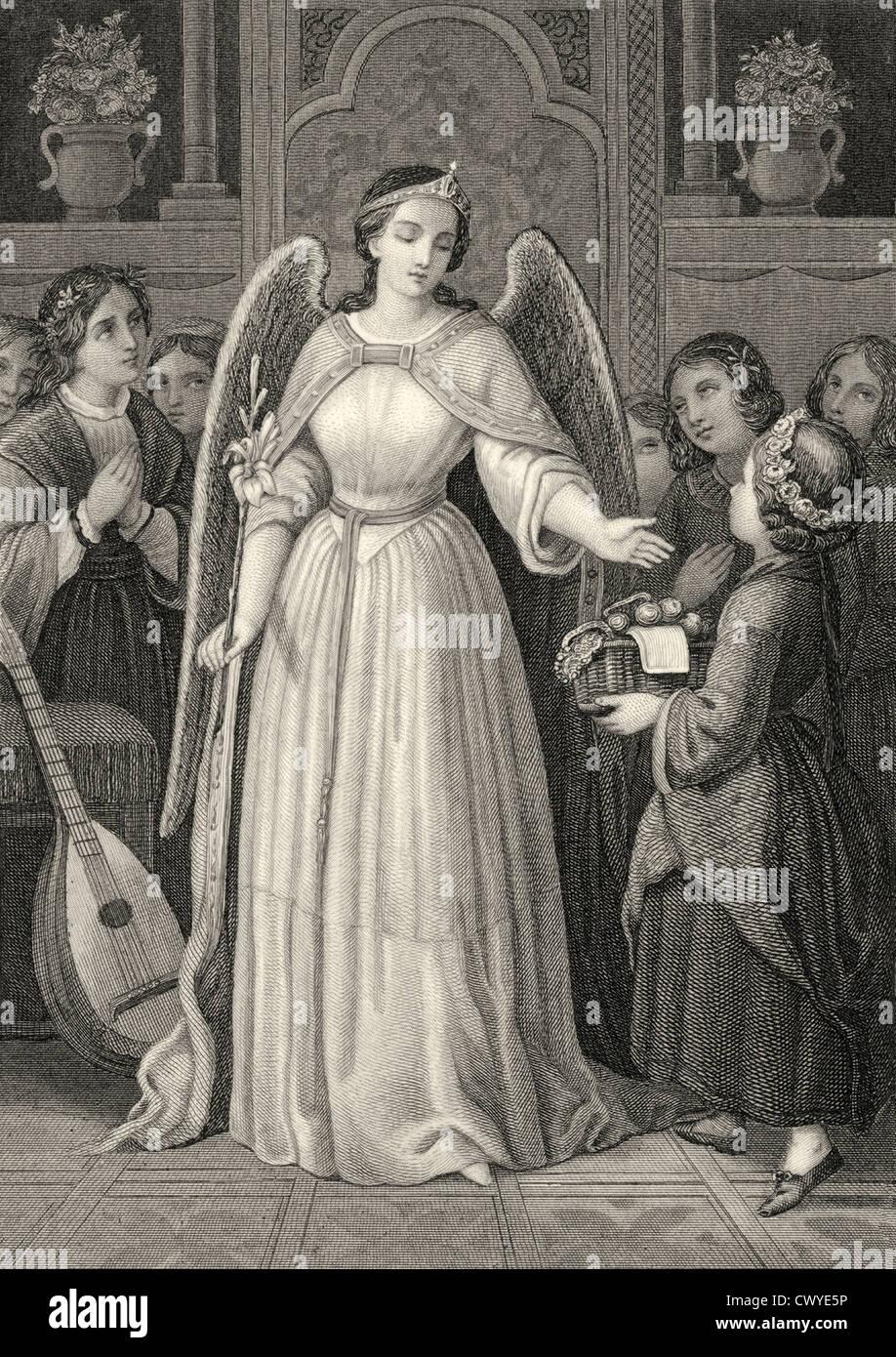 Mignon als Engel mit Laute und Kinder, Szene aus Wilhelm Meisters Lehre, Roman von Johann Wolfgang von Goethe Stockbild