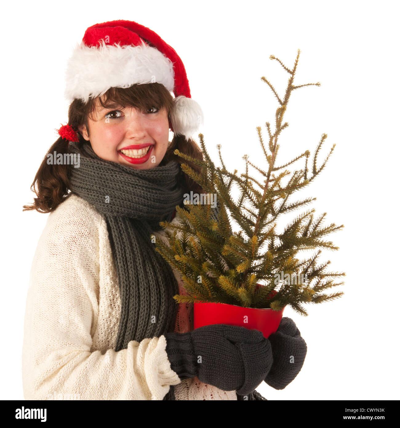 quality design 66331 87a0a Winter Mädchen mit Hut von Santa Claus und Wollpullover ...