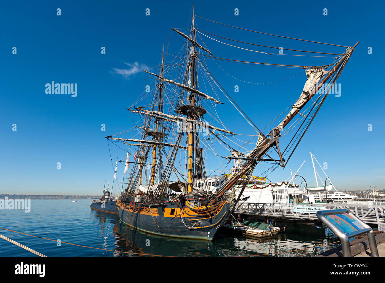HMS Surprise in San Diego, Baujahr 1970 als Replik des HMS Rose Stockbild