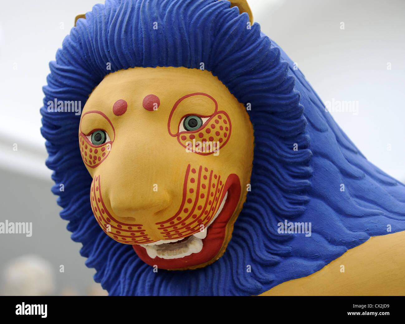 Rekonstruktion eines Löwen aus einer griechischen Grabstätte. Bemalte Besetzung. Carlsberg Glyptotek. Stockbild